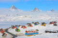 Wintertime in tasiilaq greenland with colorful houses east Stock Photo