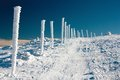 Wintery crosscountry skiing way Royalty Free Stock Photo
