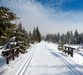 Wintry landscape with modified cross country skiing way scenery Stock Image