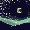 Wintry landscape night sky moon vector illustration Stock Photos