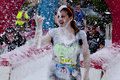 Wipeout k run obstacles course foam of fury woman covered in at the obstacle at the in wilmington delaware the is Royalty Free Stock Photo