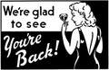 Wir sind glad to see you bezüglich der rückseite Lizenzfreies Stockfoto
