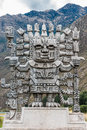 Wiracocha statue in Calca  the peruvian Andes on Cuzco Peru Royalty Free Stock Photo