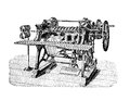 Wire binding machine for books production, vintage engraving