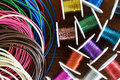 Wire crafts and leather cord colored Royalty Free Stock Images