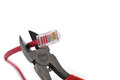 Wire cutters cat 5 cable Royalty Free Stock Photography