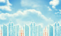 Wire frame buildings bly sky with clouds as blue and red backdrop Royalty Free Stock Photography