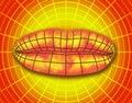 Wire frame polygonal female lips. Royalty Free Stock Photo