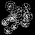 Wire mechanism gears isolated black background d render Royalty Free Stock Photo
