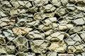 Wire net Gabion Rock Fence in close-up.