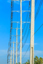 Wire pole at high voltage electrical post row of Royalty Free Stock Image