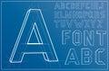 Wireframe Alphabet Font. Vector