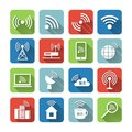 Wireless communication network icons set business flat of global connection wifi signal search and cell tower and isolated vector Royalty Free Stock Photos