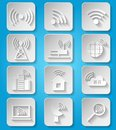 Wireless communication network icons set business paper of cafe wifi hotspot signal search and router device isolated vector Stock Photo