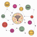Wireless communication network vector graphics Stock Photos