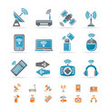 Wireless and communication technology icons Stock Image