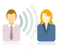 Wireless communication between two people Stock Image