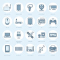 Wireless devices flat line icons. Wifi internet connection technology signs. Router, computer, smartphone, tablet Royalty Free Stock Photo