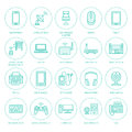 Wireless devices flat line icons. Royalty Free Stock Photo