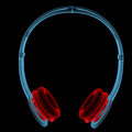Wireless headphones d xray red and blue transparent isolated on black background Stock Photography
