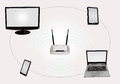 Wireless Internet connectivity zone with router desktop monitor laptop tab smart phone isolated in white. Royalty Free Stock Photo