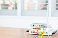 Wireless modem router network hub with cable connect Royalty Free Stock Photo