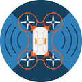 Wireless Quadcopter Drone Abstract Icon.