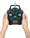 Wireless remote control for toys holding in the hand. Royalty Free Stock Photo