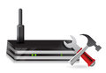 Wireless Router and tools Royalty Free Stock Image