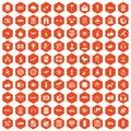 100 wireless technology icons hexagon orange