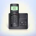 Wireless telephone phone with answering machine and base on a white background black radio Stock Photo