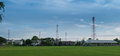 Wireless tower with contryside landscape Royalty Free Stock Photo