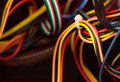 Wires inside a computer Royalty Free Stock Photo