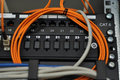 Wires and patch panel Royalty Free Stock Photo