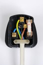 Wiring inside English plug. Royalty Free Stock Photo