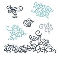Swirly scandinavian Christmas line curl isolated on white background. Vector flourish vintage for greeting cards