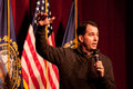 Wisconsin governor scott walker speaks in concord new hampshire usa at high school this was s first public event Stock Photo