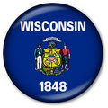Wisconsin State Flag Button Stock Photos
