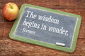 Wisdom begins in wonder the quote by socrates on a slate blackboard against red barn wood Stock Photography