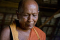 The wisdom of the old monk teacher superintendent one buddhist temples looks at ground s face Stock Images