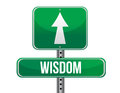 Wisdom road sign illustration design over a white background Stock Photo