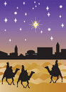 Wise men arrive Bethlehem Royalty Free Stock Images