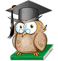 Wise owl cartoon isolated on white Stock Photography
