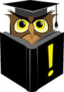 Wise owl reading book vector illustration of in square graduation cap black Stock Photography