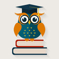 Wise owl sitting on the books. Vector illustration.