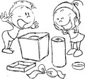 Wish fulfilled - children rejoice unpacking gifts Royalty Free Stock Photo