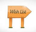 Wish list wood sign concept illustration design over white Stock Image