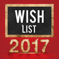 2017 wish list wood texture number with Goals word on blackboard