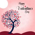 Wish you a Happy Valentine`s Day Heart Tree background Vector Illustration