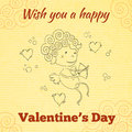 Wish you a happy valentines day greeting card with sketched cupid and paper background vector illustration Stock Photography